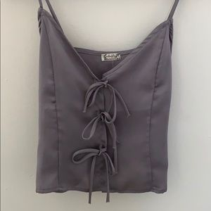 Free People Grey Silk Tank Too